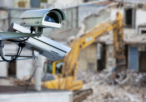 security CCTV camera with construction site