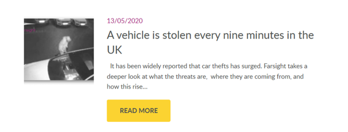 A vehicle is stolen every nine minutes in the UK
